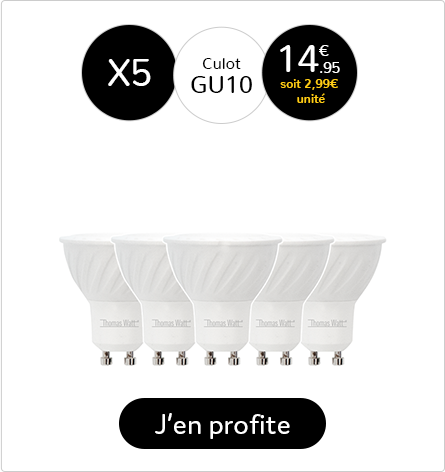 Lot de 5 Spots LED Milky GU10-MR16-7W